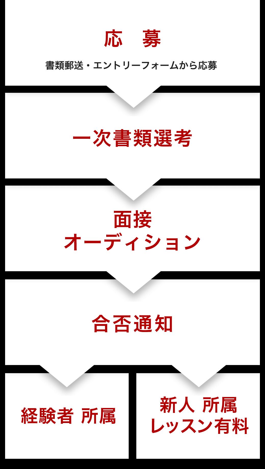 応募 → 一次選考 → 面接・オーディション → 合否通知 → 経験者 所属or新人 所属 レッスン有料